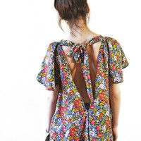Colourful Open Back Blouse// Loose and baggy// S,M,L