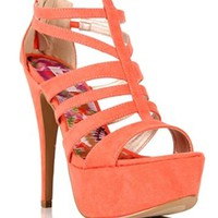 Coral Strappy Caged Peep Toe Heels