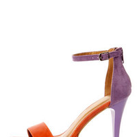 Shoe Republic LA Dysis Orange and Purple Single Strap High Heels