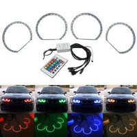 iJDMTOY Multi-Color 96-SMD RGB LED Angel Eyes Halo Ring Lighting Kit w/ Remote Control for BMW E36 E46 E38 E39 3 5 7 Series : Amazon.com : Automotive