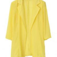 Candy Color Chiffon Coat with Notched Lapels