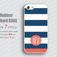 Rubber Iphone 4 case Monogram blue red line Iphone case  Iphone 5 case hard Case iphone 5 case iphone 4 iPhone 4s Case