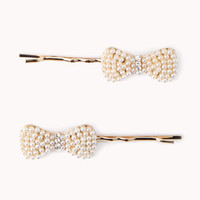 Faux Pearl Bow Hair Pins