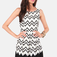 All-Star Lineup Black Chevron Print Dress