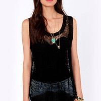 Catch of the Day Black Mesh Top