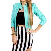 Sale-Seafoam Faux Leather Jacket