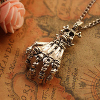skull necklace,retro silver Skeleton claw necklace---N045