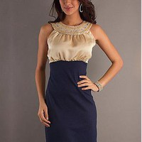 [78.39] Elegant Chiffon & Stretch  Satin Sheath High Collar Neckline  Homecoming Dress - Dressilyme.com