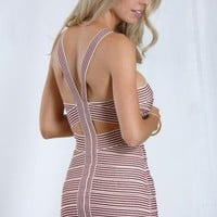 Ivory Striped Bodycon Bandage Dress with Cutout Detail
