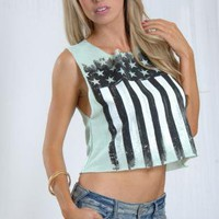 Mint Sleeveless Flag Print Top with Shredded Back Detail