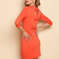 short cut out bowed back dress
