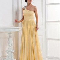 [97.99] Alluring Chiffon A-line Embroidery Beaded One Shoulder Sleeve Floor Length Evening Dress - Dressilyme.com