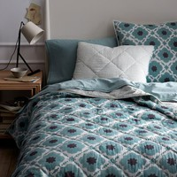 Hand-Blocked Floral Quilt + Shams