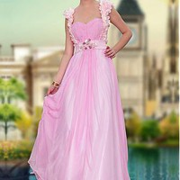 [159.99] In Stock Adorable A-line sweetheart Beaded Raised Waist Cap Sleeve Floor Length Party / Prom Dress  - Dressilyme.com