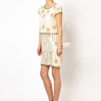 Frock and Frill Shift Dress with All Over Embellishment at asos.com
