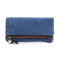 CLARE VIVIER Fold Over Denim Clutch | SHOPBOP