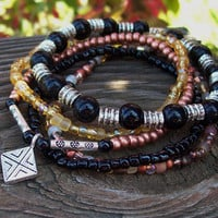 Protector - Black Onyx and Copper Stretch Stack Bracelets