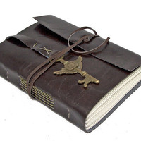 Dark Brown Vegan Faux Leather Journal with Winged Clock Key Bookmark