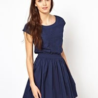 Warehouse Totem Embroidered Skater Dress at asos.com