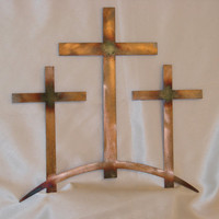 Sunburst Patina Trinity Crosses 16 Gauge Metal Wall Art