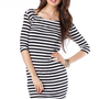 Boat Neck Striped Dress - ShopSosie.com