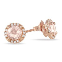 10k Rose Gold Morganite and Diamond Ear-Pin Earrings, (0.07 cttw, G-H Color I2-I3 Clarity)