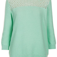 Knitted Lace Yoke Top - New In This Week - New In - Topshop USA