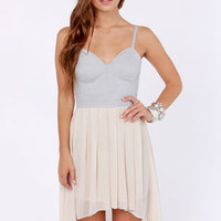 Busti-Yay Cream and Grey Bustier Dress