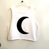 crescent moon crop shirt