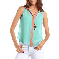 Open Back Color Block Blouse: Charlotte Russe