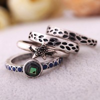 Star Fish Alligator Pattern Ring Set