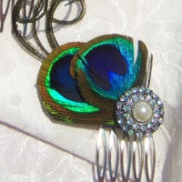 Peacock Feather Hair Comb - Made to Order - Bridesmaids Wedding Hair Accessory