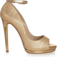 Oscar de la Renta Metallic raffia-effect sandals – 55% at THE OUTNET.COM