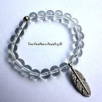 Feather Bracelet - Clear Glass Beaded Bracelet - Boho - Chic - Tribal - Indie - Stretch Bracelet - Stacking Bracelet - Gift For Her
