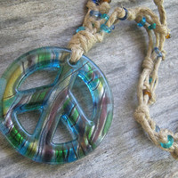 Giant Blue Tie Dye Peace Sign Necklace, Boho Hemp and Double Sided