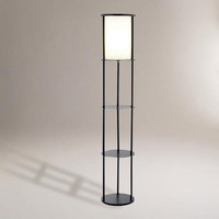 Black Stewart Shelf Floor Lamp | World Market