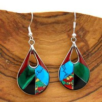 Alpaca Silver Gemstone Teardrop Earrings (Mexico)  | Overstock.com