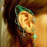 Pair of Mermaid Ocean Inspired Elf Faerie Ear Cuffs with Starfish, Sea Turtles, Clam Shells complete with pearls and Azurite