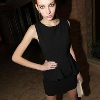 Starry pure black Peplum Dress