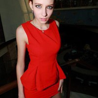 Starry pure red  Peplum Dress