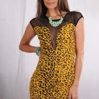 Cheetah Print Dress with Mesh Plunging Neckline