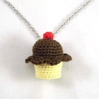 Chocolate Fudge Flavored Crochet Cupcake Necklace - Whimsical & Unique Gift Ideas for the Coolest Gift Givers