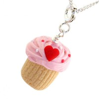 Heart Cupcake Inedible Necklace - Valentine's Day Earrings - Whimsical & Unique Gift Ideas for the Coolest Gift Givers