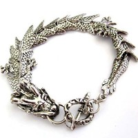 Silver-tone Alloy Metal Dragon Bracelet:Amazon:Jewelry