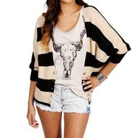 BlackBeige Dolman Striped Cardigan