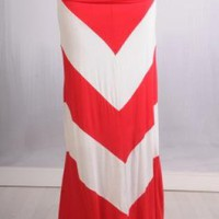 Red and White Thick Chevron Maxiskirt
