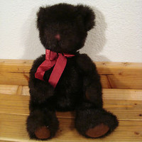 Vintage Russ Black Bear Dickens Stuffed Plush Doll Sitting