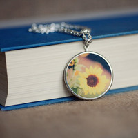 photography pendant photo jewelry sunflower photography pendant flower necklace Sunflower Fields