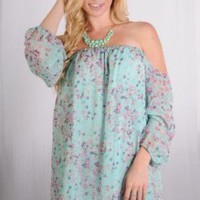 Mint Off the Shoulder Dress with Floral Print