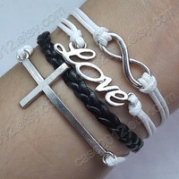 Infinity, Love & cross Bracelet--Antique Silver Bracelet--Wax Cords and  Leather Bracelet--Friendship Gift - Customize Bracelets